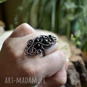 czarny elf - pierścionek duży z czarnym onyksem, onyksem