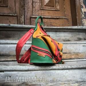 kolorowy skórzany plecak i torebka na ramię w jednym rozmiar s