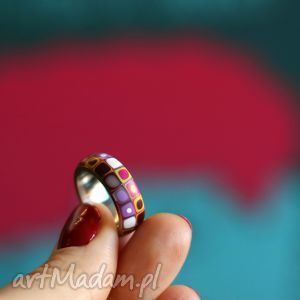 Stalowa obrączka z polymer clay obrączki foffaa obrączki