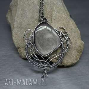 zjawiskowy obsydian wisior wire wrapping ollimine, srebrny naszyjnik, długi