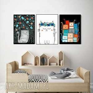 zestaw 3 prac 50x70cm, kot, koty, kotek, plakat, obraz, ilustracja, pod choinkę