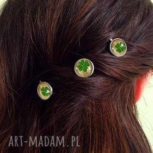 koniczyna - 3 wsuwki do włosów - szczęście, czterolistna