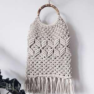 hand made torebki torebka makramowa - kolor beżowy