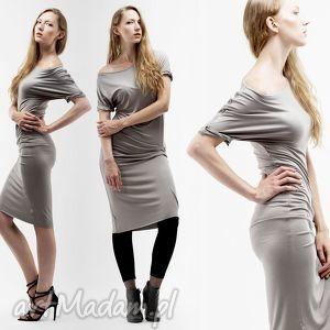 wygodna sukienka z wiskozy ivory kość słoniowa - wygodna, dzianinowa, jasna