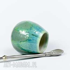 hand made ceramika małe ceramiczne naczynie do yerba mate / matero handmade niebiesko