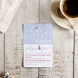 Zaproszenie GOŁĘBIE 115x165mm B6, ślub, gołębie, zaproszenia, zaproszenie
