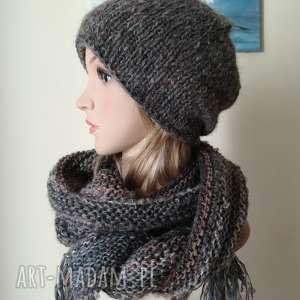 z kroplą beżu czapka, szal, rękodzieło komplet, tweed alpaka