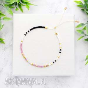 bransoletka minimal dots - powder violet, bransoletki, koralikowe