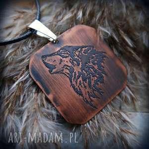 Wisior z trawionej miedzi - Wilk [008], wilk, wilki, wilczy, wisior, miedź, męski