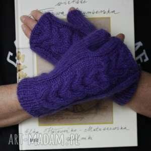 Mitenki z kłoskiem rękawiczki jaga11 rękodzieło, warkocz, druty,