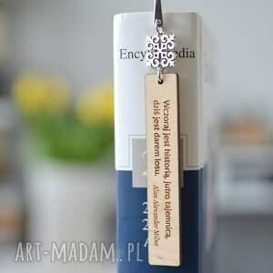 zakładka do książki z drewnem cytat orient wzór 3, książki, motto