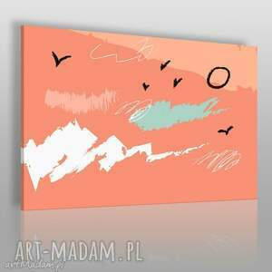 obraz na płótnie - abstrakcja łososiowy ptaki 120x80 cm 55008