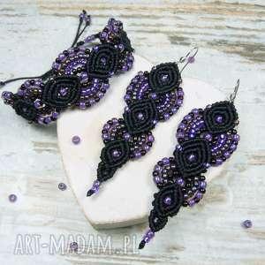 Prezent Elegancki komplet biżuterii z koralików - fiolet i czerń, elegancki, prezent