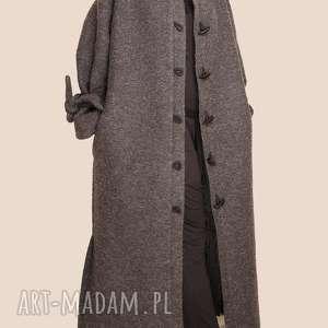 wełniany płaszcz maxi, wiązane rękawy, płaszcz, futrzany, długi do kostek