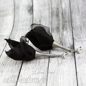 Prezent Klipsy Silk czarne, długie, lekkie, wiszące, eleganckie, materiał, prezent