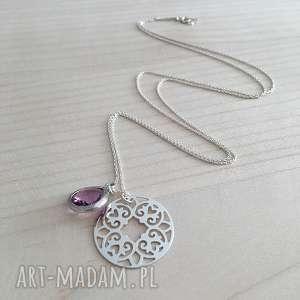 naszyjniki naszyjnik srebrny z zawieszką rozetka i kryształ lavender