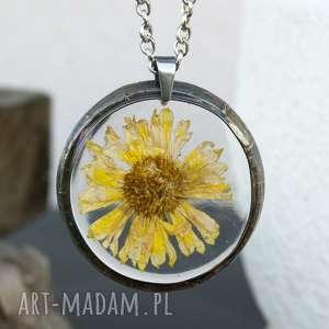 z1193 naszyjnik z suszonymi kwiatami herbarium, biżuteria z żywicy
