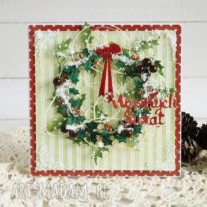 scrapbooking kartki kartka z wieńcem, boże narodzenie, świąteczna