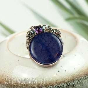 artseko fioletowy agat w srebrnym pierścionku a722, pierścionek z agatem