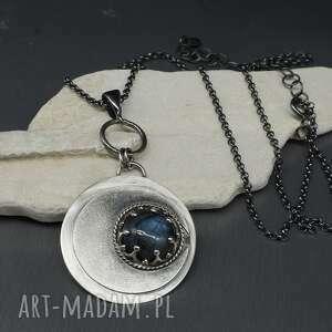 srebrny wisiorek full moon, naszyjnik wisiorek, srebrny wisior, z kamieniem