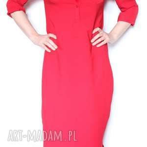 klasyczna czerwona szmizjerka, bawełna, sukienka, długa, letnia