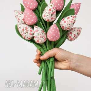 dom tulipany z materiału bukiet tulipanów pastelowe 9 szt