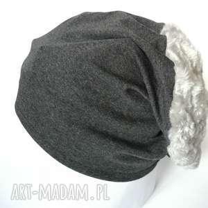 czapki duża szara grafitowa dzianinowa czapka z futrem sztucznym, damska, męska