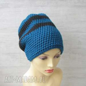 czapki szydełkowe ciemny turkus, czapka, szydełko, street style, gruba czapka