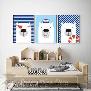 pokoik dziecka zestaw plakatów dla dzieci misie marynarskie a4, miś