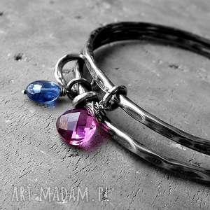 zestaw 2 bransolet- kwarc,kianit,srebro - zestaw-bransolet, z-charmsami, z-zawieszkami