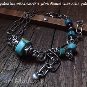 bransoletki turkusowe akcenty bransoletka z turkusów i srebra, turkus, plastry, srero