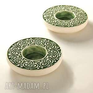 ceramika lampiony barokowe zielone, lampion, świecznik, barokowy, dekoracja