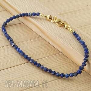 bransoleta z lapis lazuli, bransoletka pozłacana, lazuli