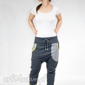 spodnie april - dres grafit limonka, baggy, zumba, yoga, taniec, ciążowe, wygodne