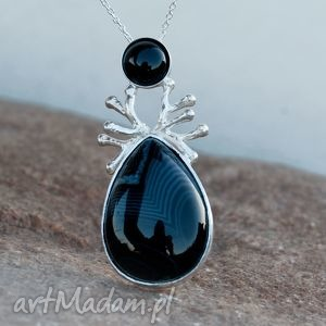a344 in black naszyjnik srebrny - naszyjnik, srebrny, agat, oryginalny, kobiecy