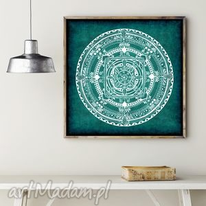 Mandala turkusowa, mandala, plakat, rysunek