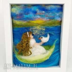 marzenia obraz malowany wełną z kolekcji die verzauberte - zachód słońca