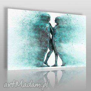 obraz na płótnie - para sylwetki postacie turkusowy 120x80 cm 38402 , para, cienie