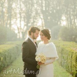 ręcznie wykonane ślub etola szal slubny z futra ecru