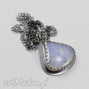 Kamień księżycowy i srebro - wisior plus łańcuszek, kamień, księżycowy, wisiorek
