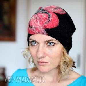 czapka wełniana zimowa handmade na podszewce, czapka, wełna, etno, ciepła, boho