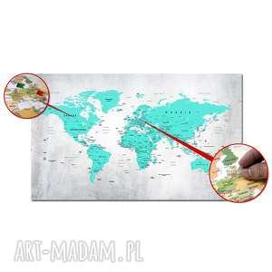 obraz na korku mapa świata nr 27 turkusowa tablica korkowa 120x70cm pinezki