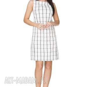 Sukienka taliowana, T236, kratka, sukienka, guzik