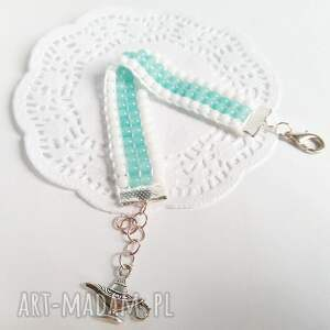 Bransoletka tkana z koralików - miętowy i biel - handmade