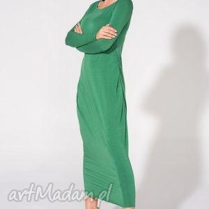 Sukienka maxi, T143, zielona, sukienka, dzianina, wiskoza, luźna, marszczona