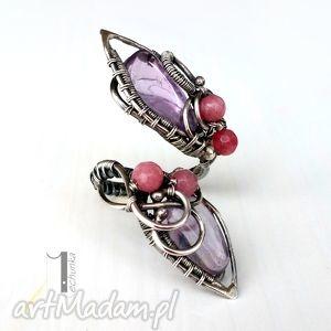 freja - srebrny pierścień z ametystem i jadeitem, srebro, ametyst, jadeit, kobiecy