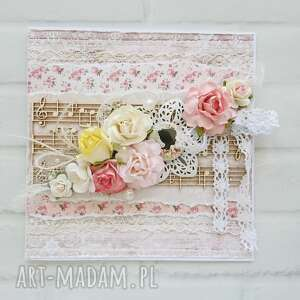 Kartka z nutami różana w pudełku scrapbooking kartki made by