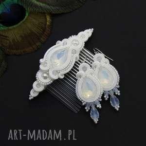 komplet ślubny licira opal soutache, sutasz, opal, rękodzieło, ślub, zestaw