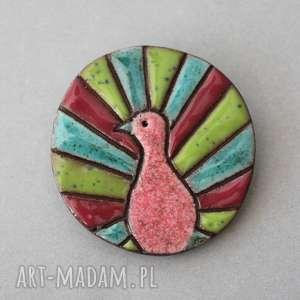 broszki paw - broszka ceramika, minimalizm, prezent, urodziny, design, ona