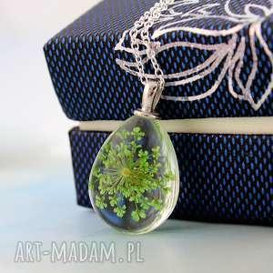 zielony kwiat - naszyjnik - naszyjnik, kwiat, suszony, szkło, natura, lekki